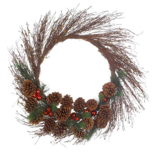 """30"""" Pine Cone and Ball Ornament Artificial Twig Christmas Wreath - Unlit"""