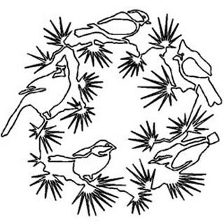 """Bird Wreath 14""""X13"""" - Quilt Stencils By Julie Mullin"""