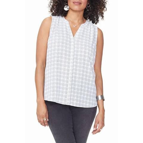 NYDJ Women's Tank Cami Top Blue White Size Medium M Printed Chiffon