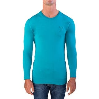 Versace Men's Medusa Head Crew Neck Sweater Teal|https://ak1.ostkcdn.com/images/products/is/images/direct/7dcc372a66795af0cdd64f9db717d4c5e9f46bca/Versace-Men%27s-Medusa-Head-Crew-Neck-Sweater-Teal.jpg?impolicy=medium