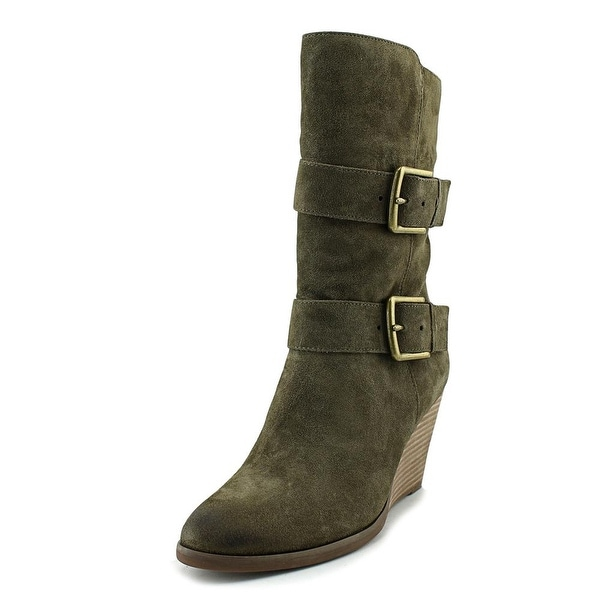 Very Volatile Lars Women Round Toe Suede Green Mid Calf Boot
