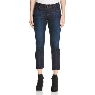 Eileen Fisher Womens Petites Straight Leg Jeans Cropped Dark Wash - 2p