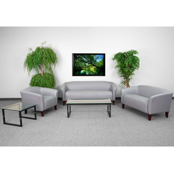 Shop Radisson 3pcs Office Leather Sofa Sets, Gray, Wood Ft - Free ...