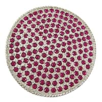 Fuchsia Rhinestone Covered Round Chrome Belt Buckle