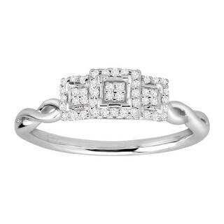 1/6 ct Diamond Triple Square Ring in 10K White Gold