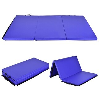 Costway 6'x 4' Tri-Fold Gymnastics Mat Thick Folding Panel Gym Fitness Exercise Blue