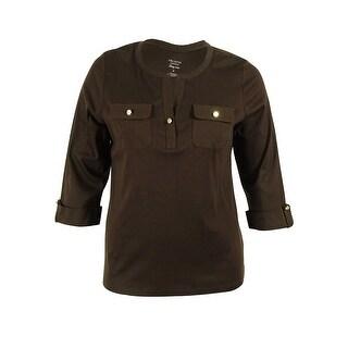 Charter Club Women's Pima-Cotton 3/4 Sleeve Button Top