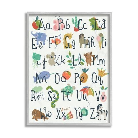 Stupell Industries Kids' Safari Animal Alphabet Colorful Illustrations Framed Wall Art