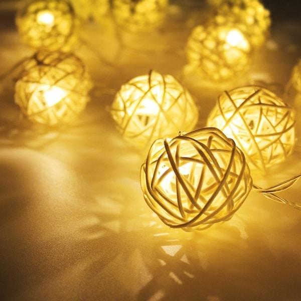 Battery Powered Rattan Ball LED Decorative String Light, 2 Work Modes Battery Box, 10ft Length 20 Balls, Warm White