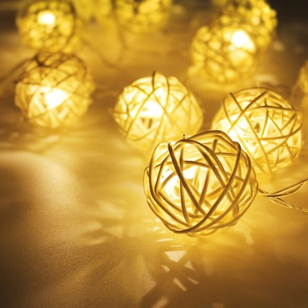 Plug-and-Play 29ft Length 40 Balls Rattan Ball LED Decorative Christmas String Lights, Warm White