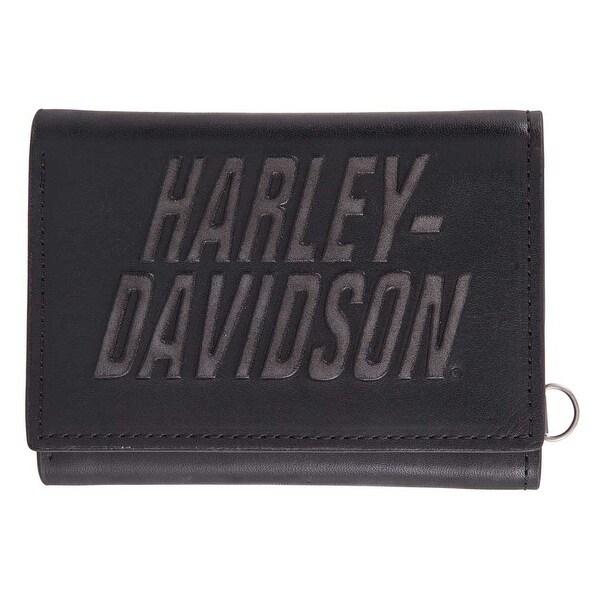 "Harley-Davidson Men's Scratch Off Tri-Fold Leather RFID Wallet HDMWA11382-BLK - 4.5"" x 3.5"""