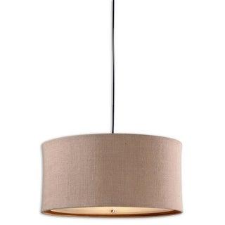 """14"""" Round Beige and Burlap Mini Drum Pendant Ceiling Light Fixture"""