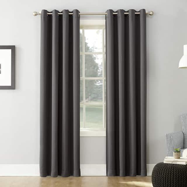 Sun Zero Hayden Energy Saving Blackout Grommet Curtain Panel, Single Panel - 54 x 63 - Charcoal