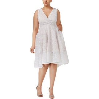 Adrianna Papell Womens Cocktail Dress Floral Mesh Surplice