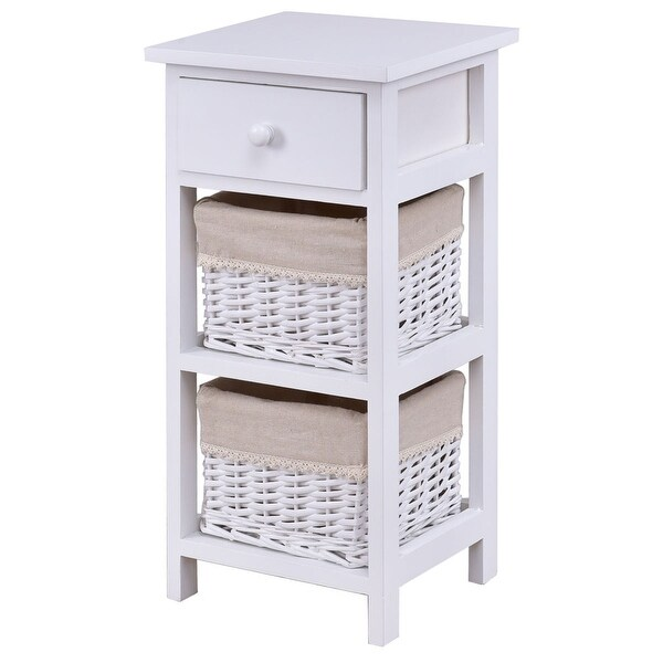 Costway Bedroom Wooden Bedside Table Nightstand Chest Cabinet - White