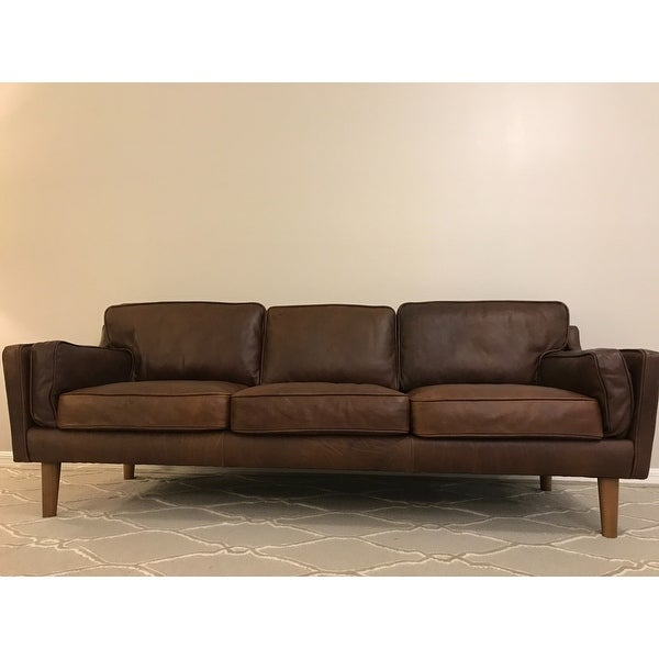 Jasper Laine Beatnik Leather Sofa Columbus Chocolate Free Shipping Today 8494277