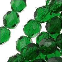 Czech Fire Polished Glass Beads 6mm Round Emerald Green (25)