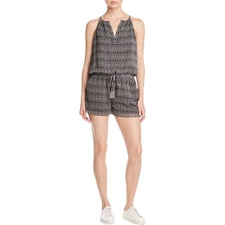 Joie Womens Janisse Romper Silk Split Neck