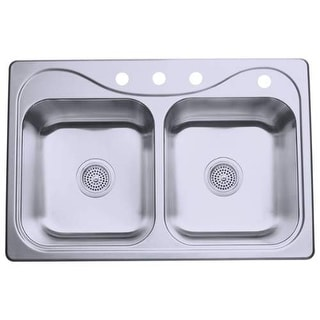 "Sterling 11400-4 Southhaven 33"" Double Basin Drop In Stainless Steel Kitchen Sin - Stainless Steel"