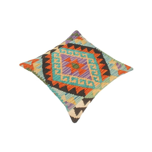 Tribal Everette Hand Woven Turkish Kilim Throw Pillow 18 In X 18 In Overstock 32524913