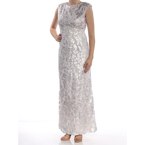 519c0eff080 XSCAPE Womens Silver Sequined Open Back Cap Sleeve Jewel Neck Full-Length Formal  Dress Size