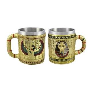 Pair of Golden Egyptian Coffee Mugs Isis/Pharaoh 12 oz.