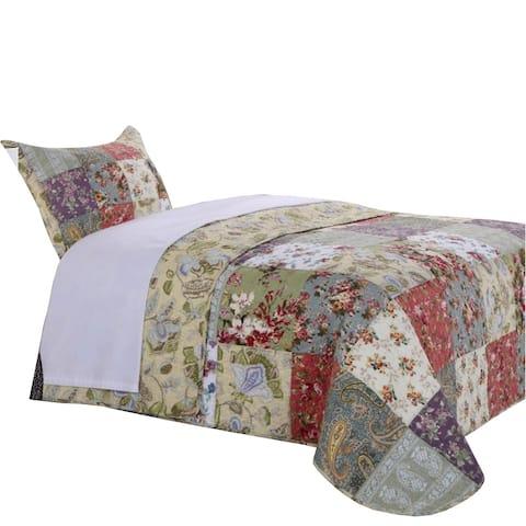 Eiger 2 Piece Fabric Twin Size Quilt Set with Jacobean Prints, Multicolor