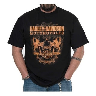Harley-Davidson Men's Profile Skulls Short Sleeve Crew-Neck T-Shirt - Black