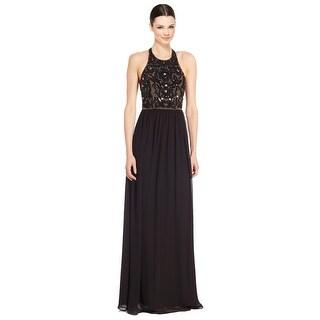 Parker Cassey Embellished Bodice Cutout Back Evening Gown Dress Black