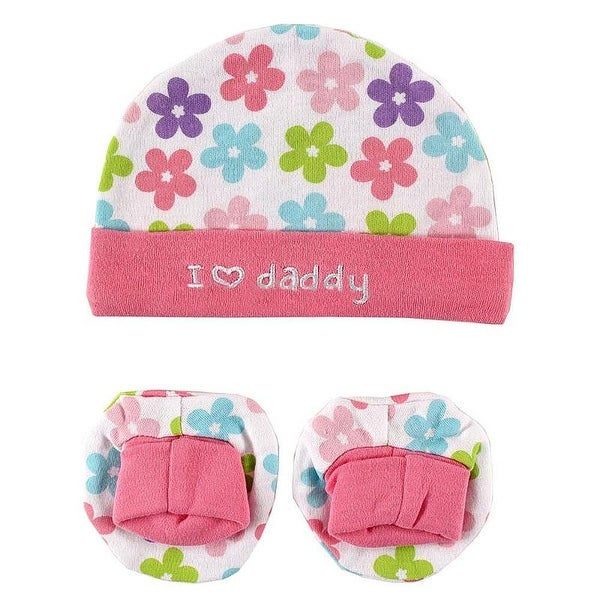 Luvable Friends Girls 0-6 Months Floral Love Daddy Cap and Booties Set