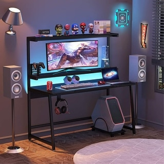 55″ Gaming Computer Desk with Hutch Shelf and Monitor Stand
