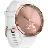 Garmin Vivomove HR Sport Watch Rose Gold with White Silicone Band (Small/Medium)