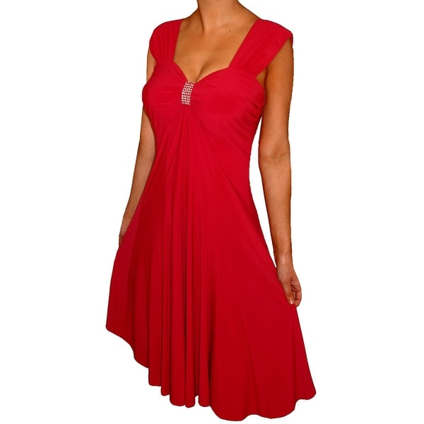 Funfash Plus Size Clothing for Women Red Empire Waist Sleeveless Slimming Cocktail Dress