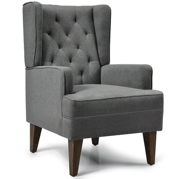 2 in 1 Tufted Rocking Chair-Gray