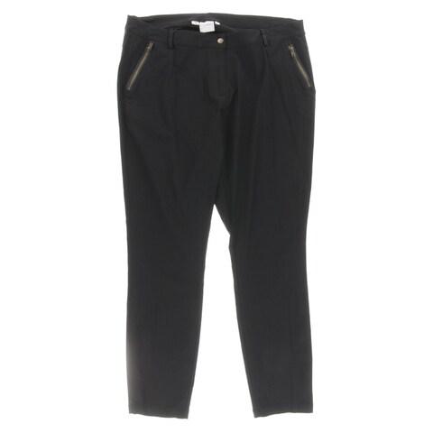 Junarose Womens Plus JRMINDIA Straight Leg Pants Poplin Zip Front Pocket - 24