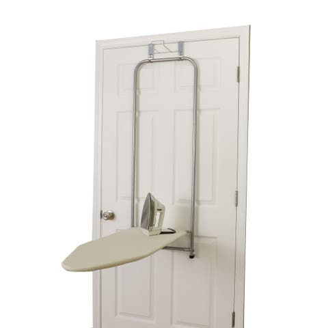 Household Essentials Over The Door Small Ironing Board with Iron Holder