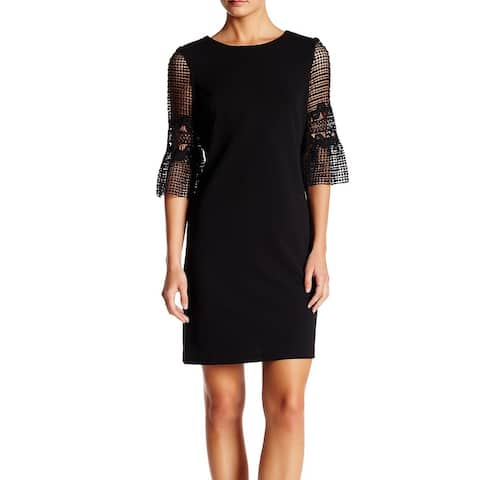 Donna Ricco Womens Shift Dress Solid Black Size 12 Bell Lace Sleeves
