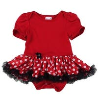 Wenchoice Baby Girls Red Polka Dots Satin Tutu Cotton Bodysuit