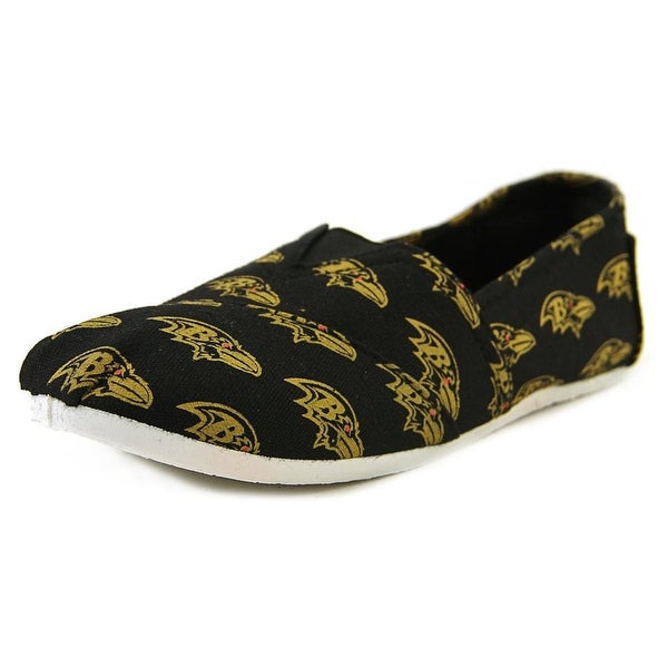 Forever Collectibles NFL Slip On Women Round Toe Canvas Black Loafer