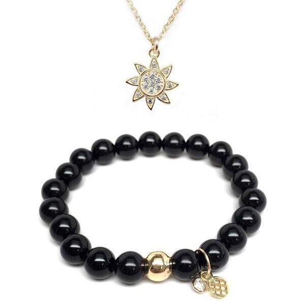 """Black Onyx 7"""" Bracelet & CZ Sun Gold Charm Necklace Set"""