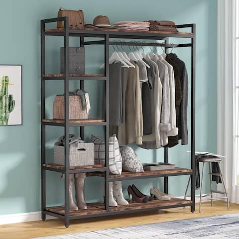 Free-standing Closet Organizer Garment Rack with 6 Shelf 1 Hanging Bar