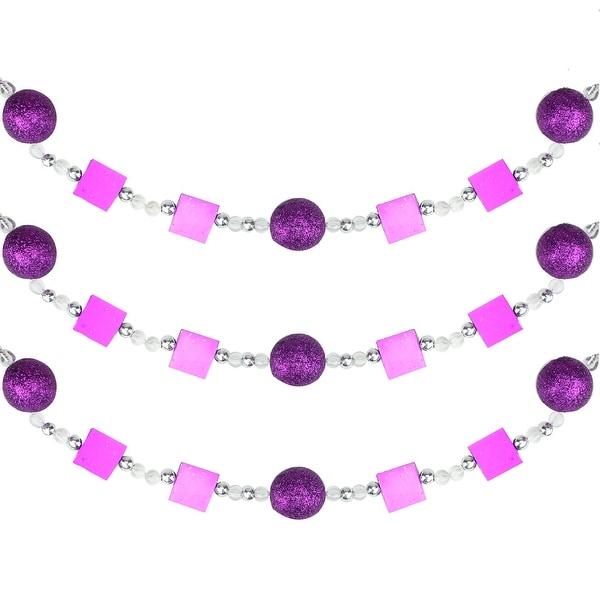 6' Rich Plum Magenta Glitter Beaded Christmas Garland - PURPLE
