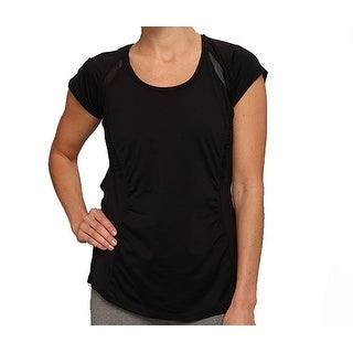 Spanx NEW Black Womens Small S Scoop Neck Mesh-Inset Base Layer Athletic