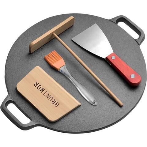 Pre Seasoned Cast Iron 12 inch Crepe Pan Set - Skillet Dual Handles Durable Frying Pan