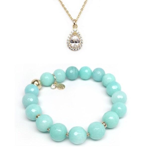Aqua Quartz Bracelet & CZ Teardrop Gold Charm Necklace Set