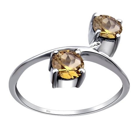 Sapphire, Cubic Zirconia, Smoky Quartz Sterling Silver Round Promise Ring By Orchid Jewelry