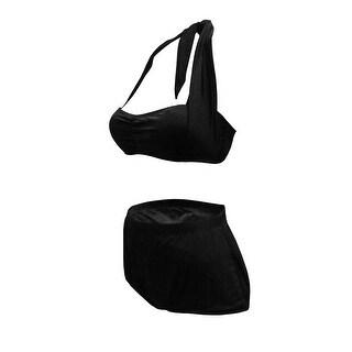 Retro Bandeau Bikini with High Waist Brief in Solid Black