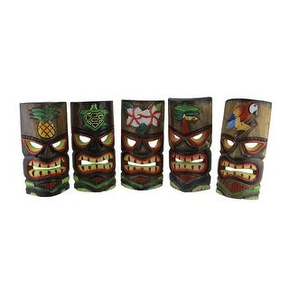 Set of 5 Polynesian Style Wooden Tiki Masks 10 in. - 9.75 X 4.75 X 3.5 inches