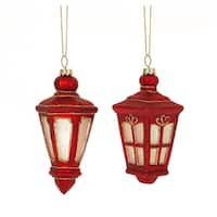 Club Pack of 12 Assorted Red Mini Lantern Glass Christmas Ornaments 4.5""