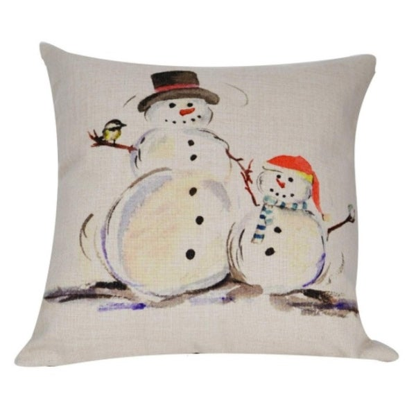 """Snow Couple"" by Sarah Hurst Watercolor Decorative Accent Throw Pillow Cover 18"""